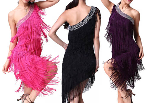 ballroom dance western fringe skirtsWoman Evening Cocktail Party One Shoulder Fringe Latin Dance rKQ8fMFW