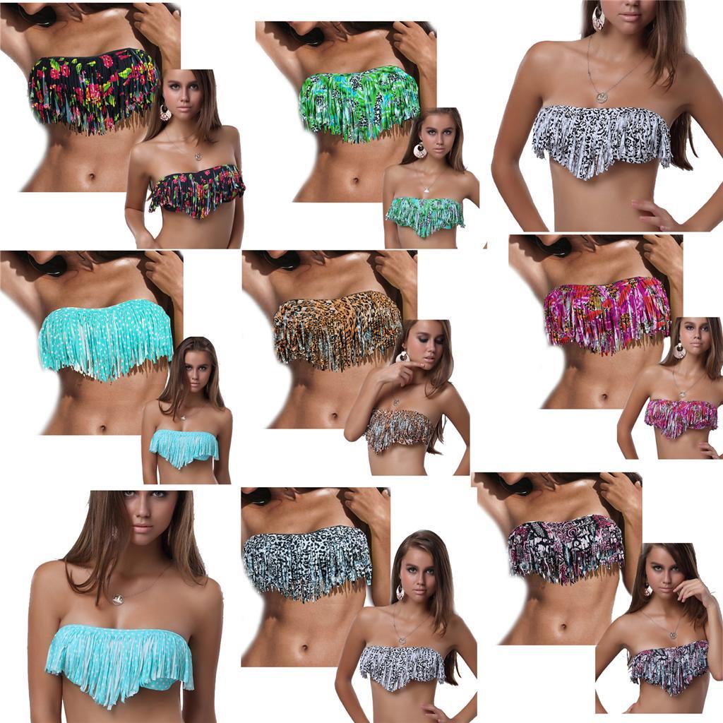 bandeau fringe bikini ebaySexy Womens Colorful Fringe Tassels Bikini Top Padded Bandeau EEXWhzw9