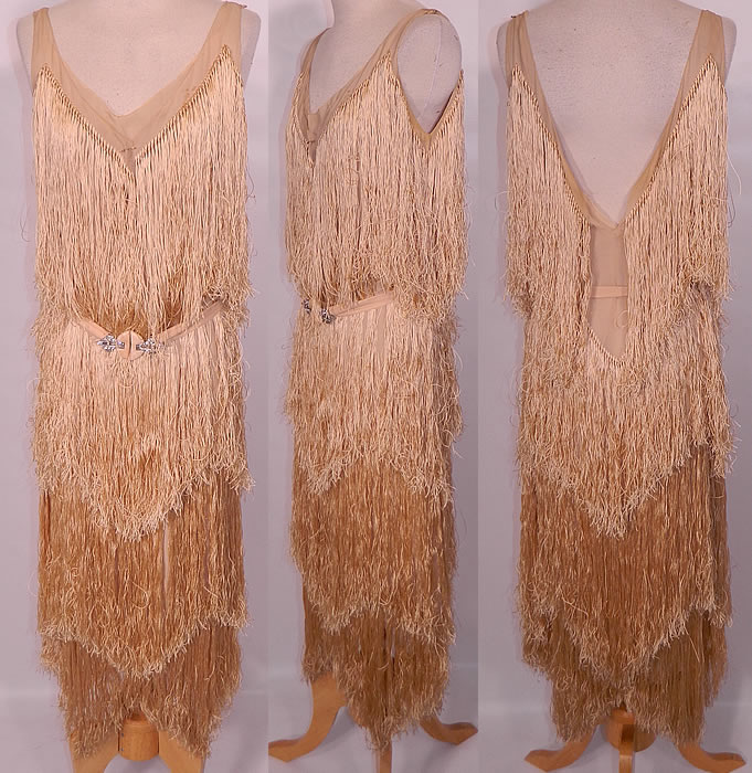 flapper dress fringe trim fabricVintage 1920s Gatsby Cream Silk Fringe Flapper Shimmy Wiggle Dress 23mI46TR