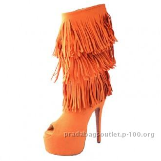 fringe bag and boots for salesell Red Sole Shoes  Highness Tina Suede Fringe Boots Orange D8E3Z2cr