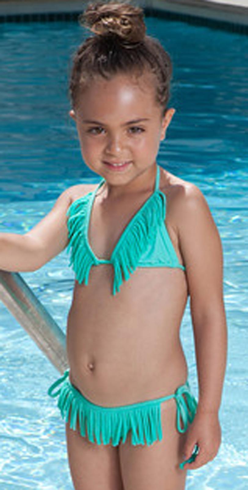 fringe bathing suits girlsPilyQ 2013 Kids Blue Fringe Bikini South Beach Swimsuits exA62Urz