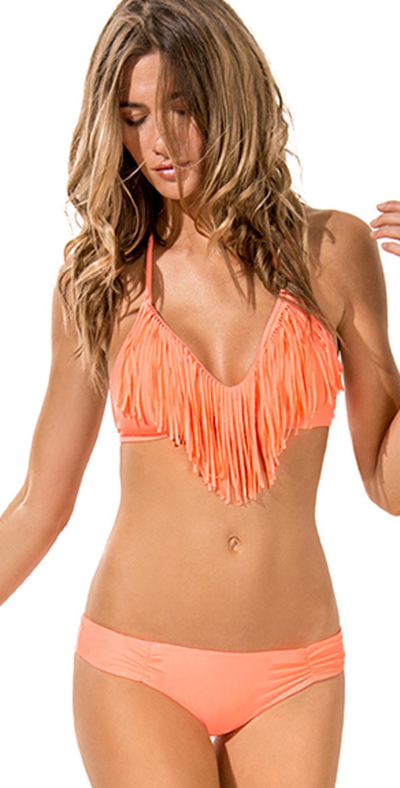 fringe bikini bjj gi top onlyL Space 2014 Electric Coral Audrey Fringe Bikini South Beach yuSAQVaZ