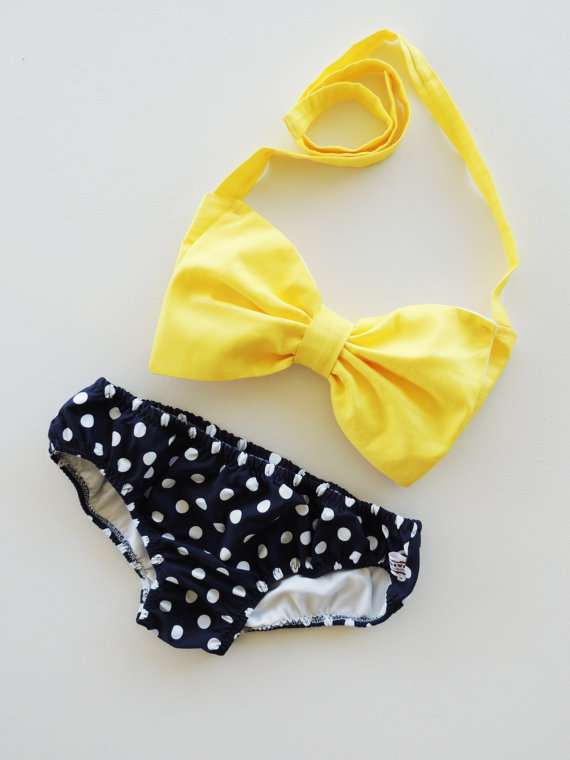 fringe bikini bow top bandeauSunshine Bow Bandeau Bikini Style Top Navy Blue and white polka QW6HcBpE