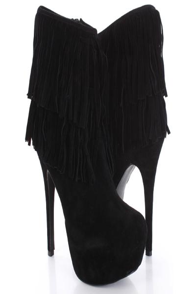 fringe black boots with heelsBlack Faux Suede Fringe Tier Platform Heel Ankle Boots Sexy KBb8PT88