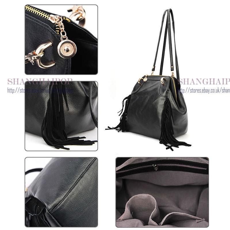fringe black leather backpackBlack Fringes Handbag Retro Shoulder Bag Women Backpack Faux v5EPRya7