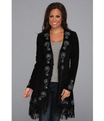 fringe black leather jacket amazonScully Womens Embroidered Fringe Long Suede Leather Jacket at p4MVGNLp