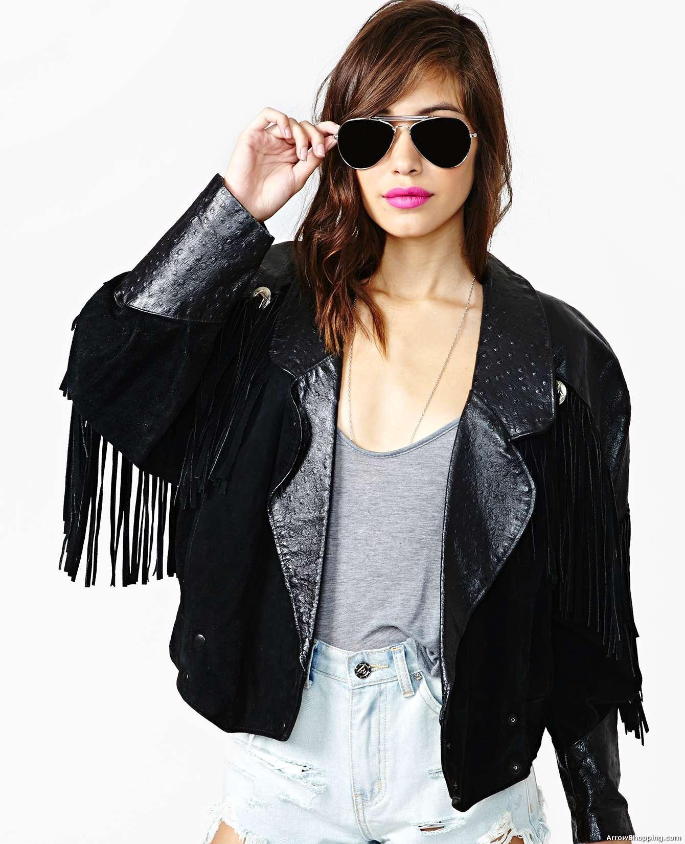 fringe black leather jacket womenArrow Women fringe Black Leather Jacket 6551 7CLzp1Ot