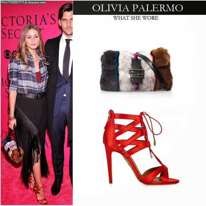 fringe black strappy sandals heelsWHAT SHE WORE  Olivia Palermo in blue plaid shirt black fringe elf2NP5C