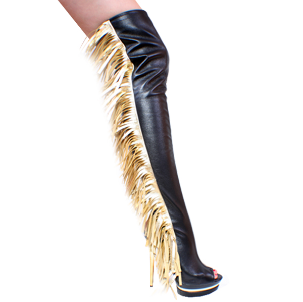 thigh high fringe leather bootsZaphon    Shop by Heel Size    6 Inch Heels    Ultra Sexy Alvina 6 ytyQabbt
