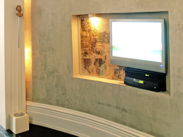 tv wall niche ideasWall Alcove in Curved Wall With Inset Television   Designers scM3iQWb