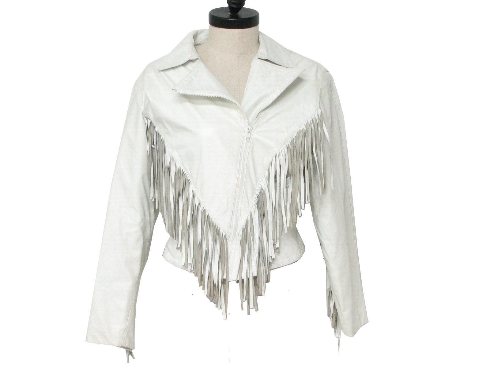 white fringe leather jacket80s Vintage Wilsons Leather Jacket  80s  Wilsons  Womens white nlphkVF3