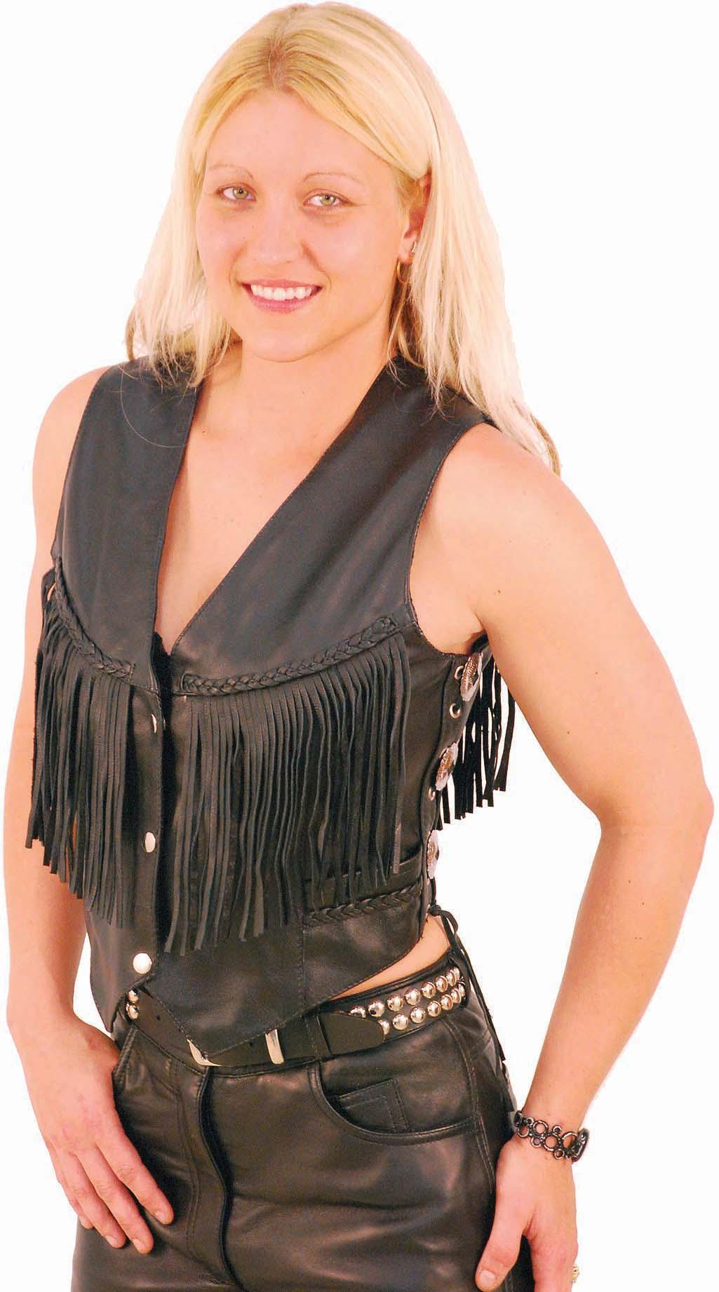 women leather fringe vestFringe Leather Vests and Halters for Women noXk2PRW