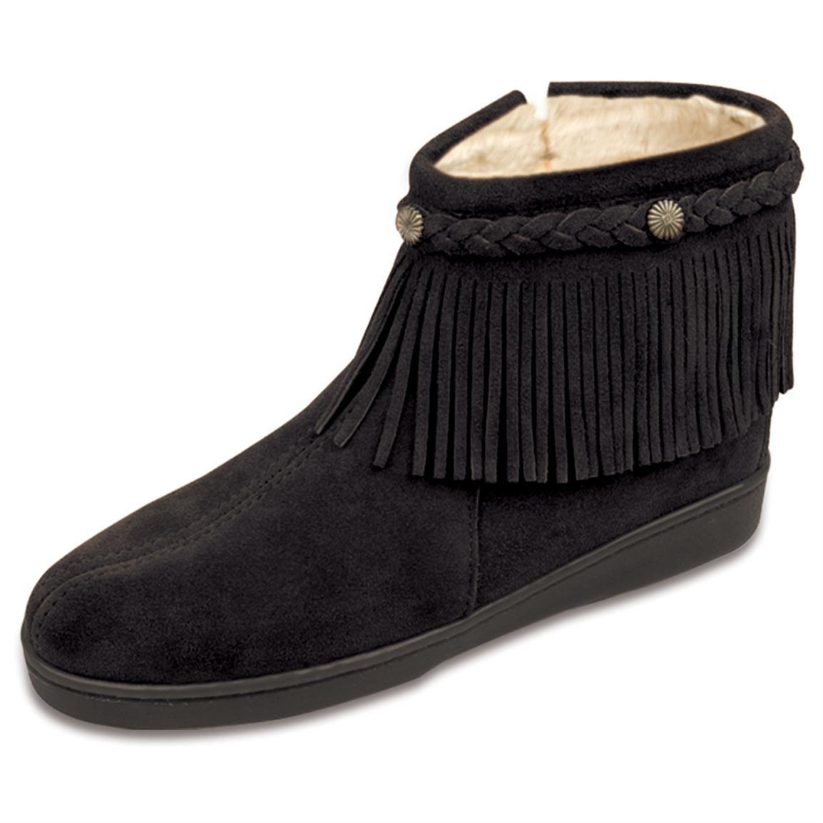 ankle black fringe moccasin bootsWomens Minnetonka Moccasin   Pile Lined Fringe Side zip Ankle TQCvzwm2
