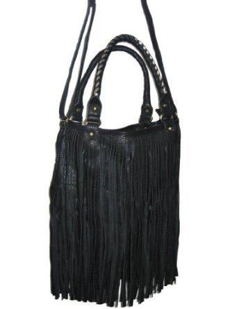 black fringe bag uk2374  faux leather fringe tassel bag black  Amazoncouk  Clothing AohwDTQN