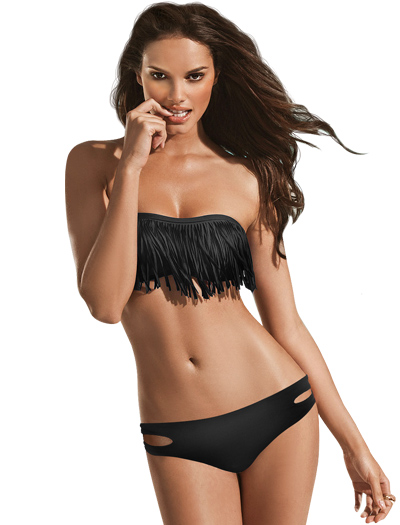black fringe bikini top bandeauL Space Fringe Benefits Dolly Bandeau Bikini Top L Space FR5512 CuCTwbtD