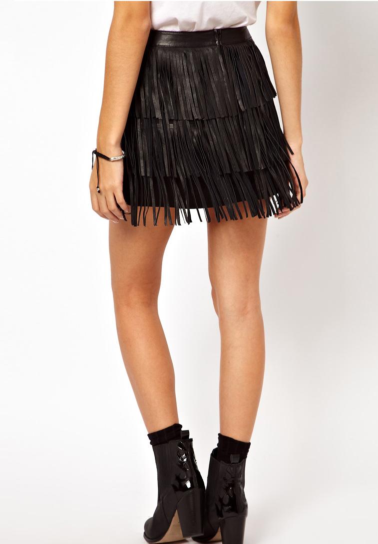 black fringe leather skirtUS 3599    Street Rock Black Leather Fringe Fluffy Skirts Leather sI9uSsZZ