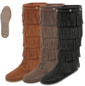 black fringe moccasin boots for womenMinnetonka Mens and Womens Fringe Boots NrClpRI6
