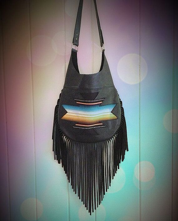 black fringe purse etsyBlack Southwest Traveler Leather Fringe Bag Purse 0aH7wruT