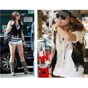 black fringe vestCelebrity Miley Cyrus Hannah Montana inspired black short fringe NwCTHeHD