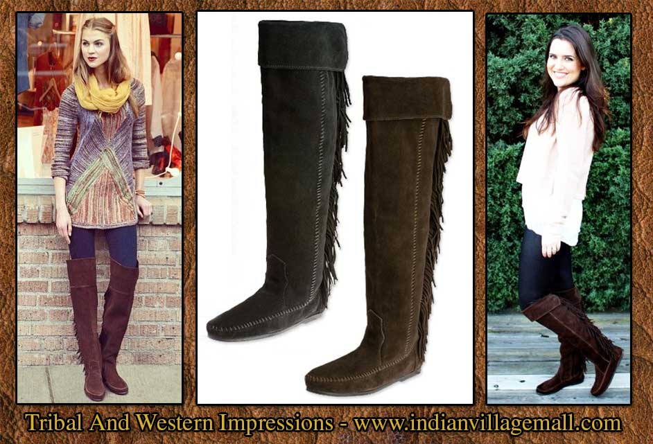 black knee high fringe moccasin bootsMinnetonka Over The Knee Fringed Suede Boot From Tribal Impressions dMqiG7tf