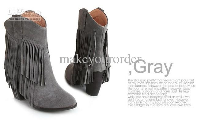 fringe ankle boots with heelsWholesale Ankle Boot   Buy Cowskin High Heel Edging Fringe Ankle 6txoIV5d