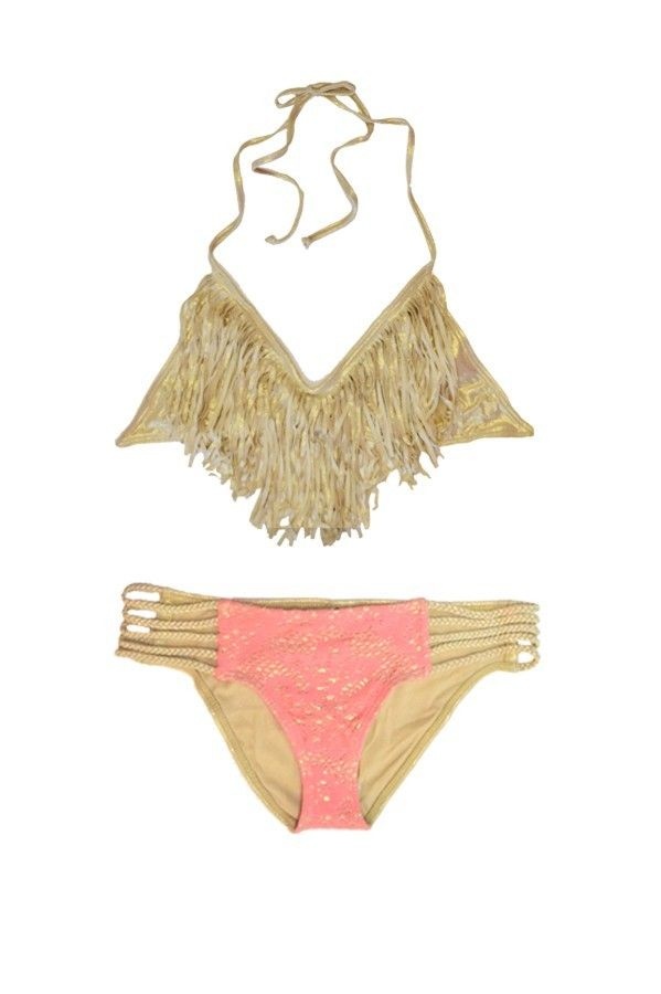 fringe barbie swimsuit for girlsSwimwear Golden Barbie Fringe Bikini summer sexy Pinterest r7tNXz7U