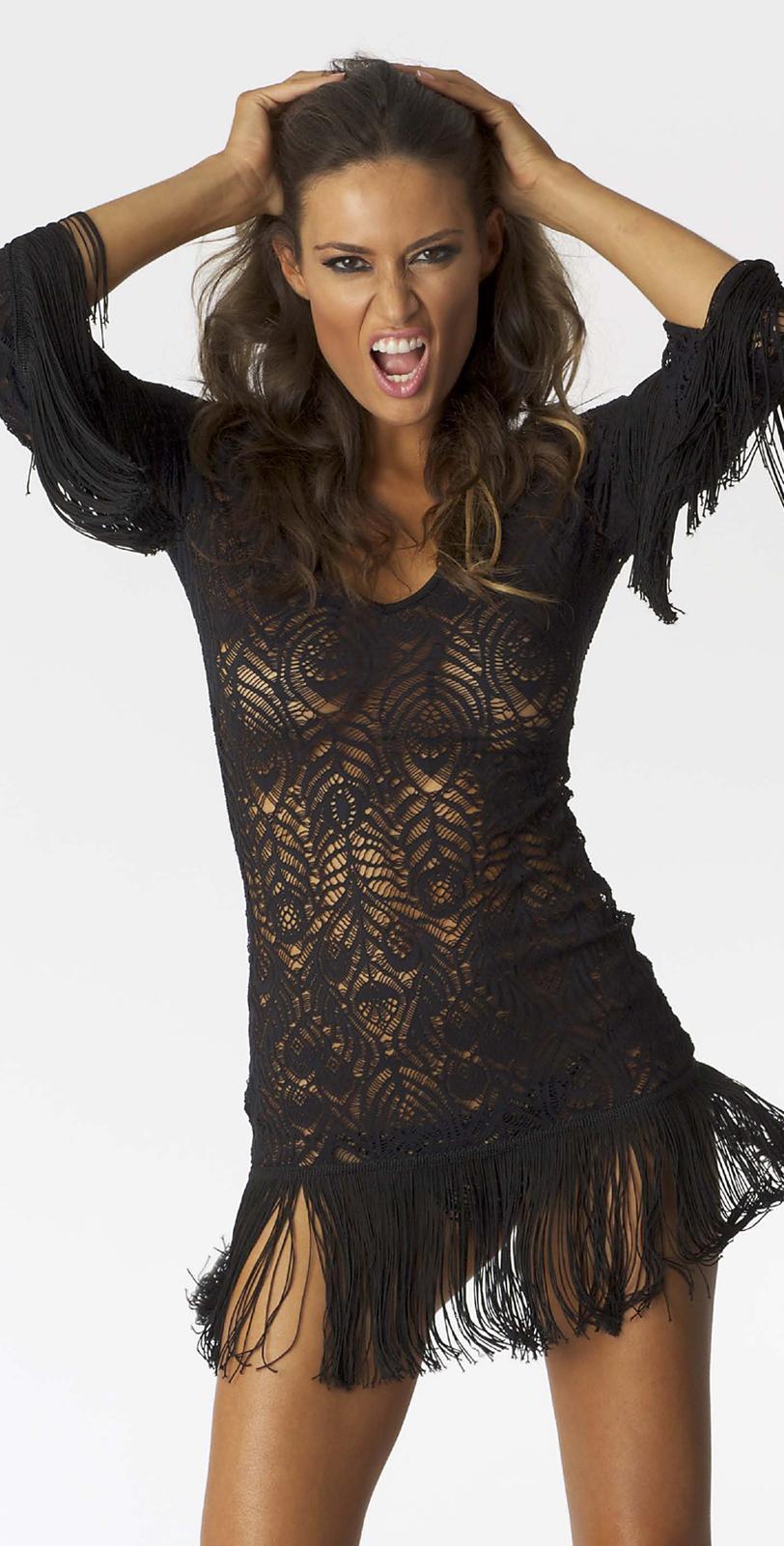 fringe bikini cover up dressesInca 2013 Crochet Fringe Dress Available in Black or Cream South wUMRNHMB