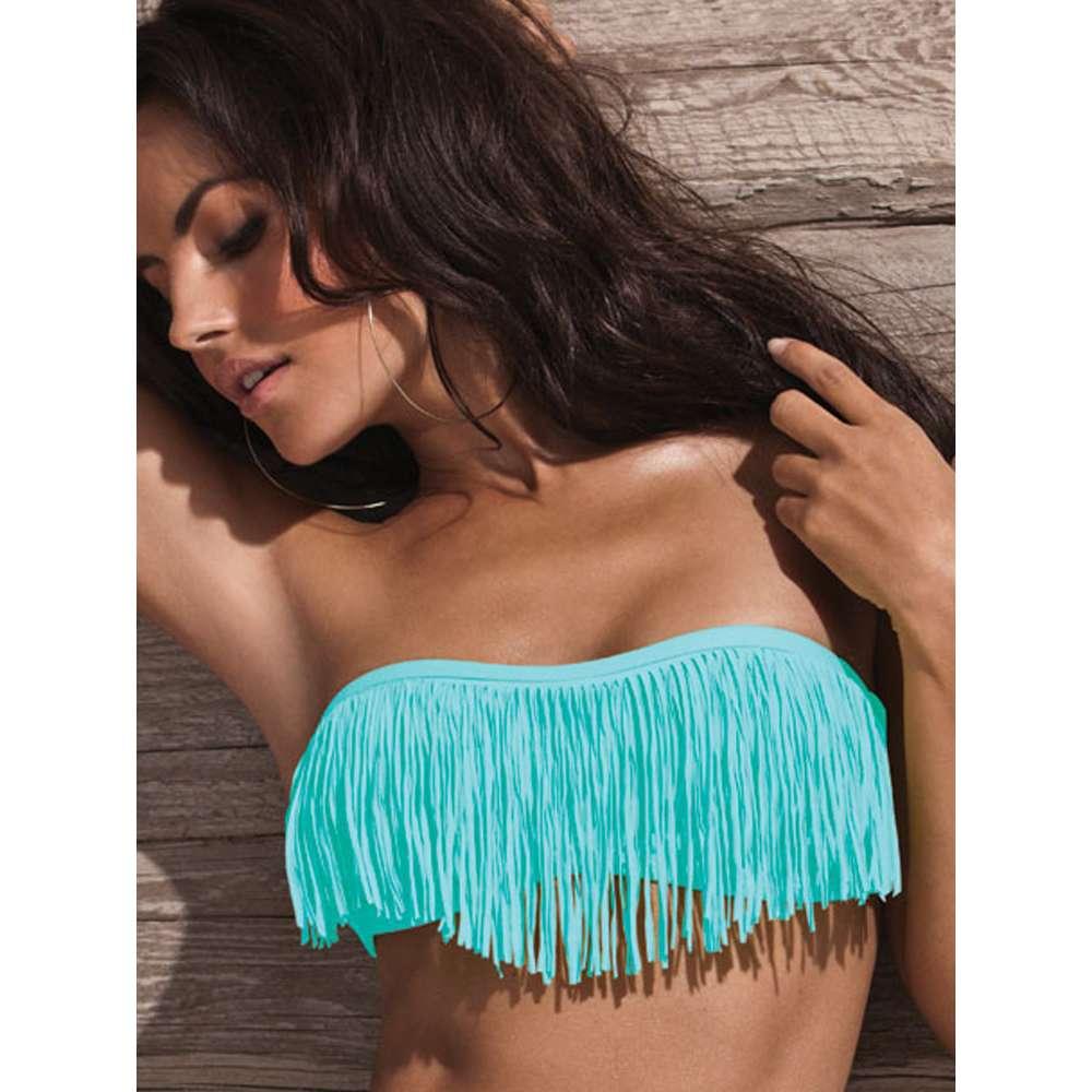 fringe bikini tops cheapL Space Dolly Bandeau   Tiffany Blue Fringe Dolly Bandeau ThisNext MAkWadra