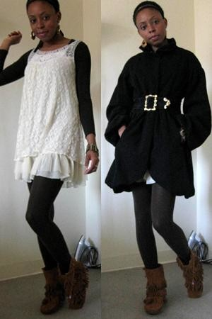 fringe black lace dress forever 21Arden B black coat Thrifted white lace dress and Forever RbHLIQOW