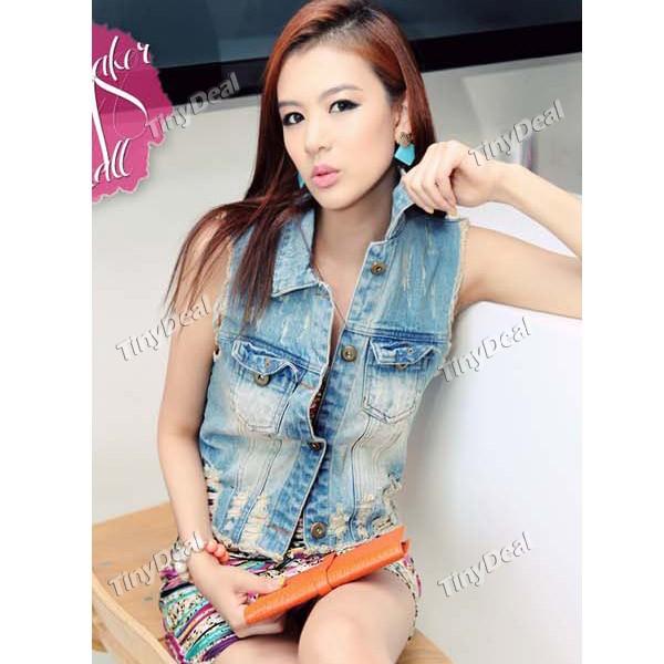 fringe blue jean vest for girlsCool Girls Denim Vest with Broken Holes   Fringes NWW 106068 KVyc36NB