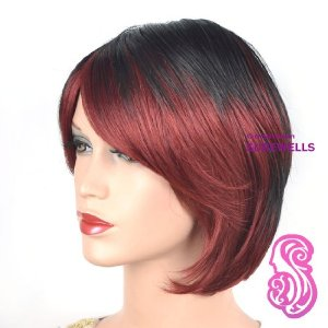 fringe bob wigs with bangs for black womenAmazoncom   CoolShort Bob Black And Red Secondary Colors Natural 4o1ORpq5