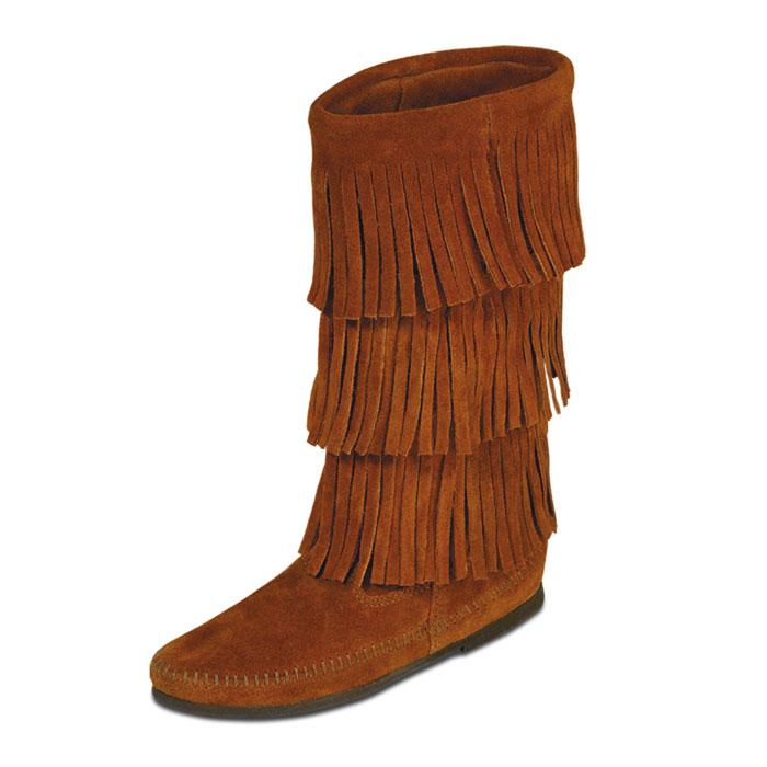 fringe boots womenMinnetonka Womens Calf Hi 3 Layer Fringe Boots   Brown oVPtWlIJ