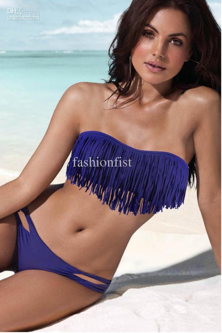 fringe cheap bathing suits for teensCheap Swimwear Swimsuit   Best Fringe Top Strapless Swimsuit XWkv0b23