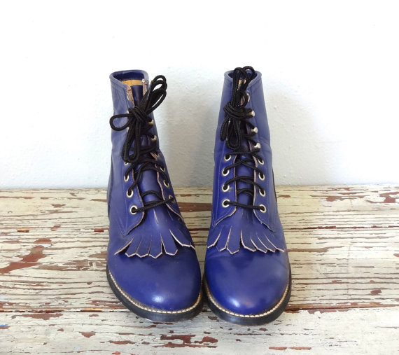 fringe combat boots with heelsVintage JUSTIN Boots Lace Up Boots Purple by BluegrassBooty pqihm6DW