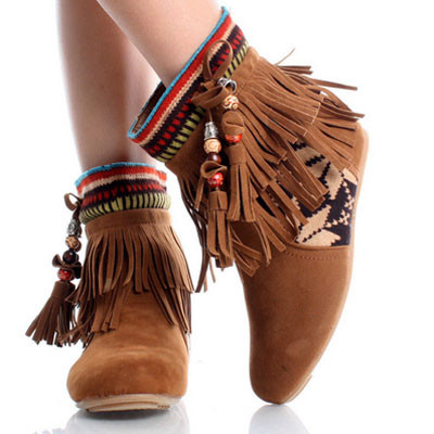 Tribal Fringe Ankle Boots Moccasin Indian Booties Aztec Keep UmobUUuK