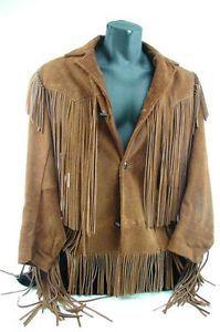 western suede fringe jacketsVtg Leather Vest Mens Medium Fringe Western Biker aJ0PxHRR