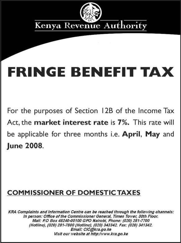 what is fringe benefit taxKRA  Public Notices for the year 2008 dbWACSai