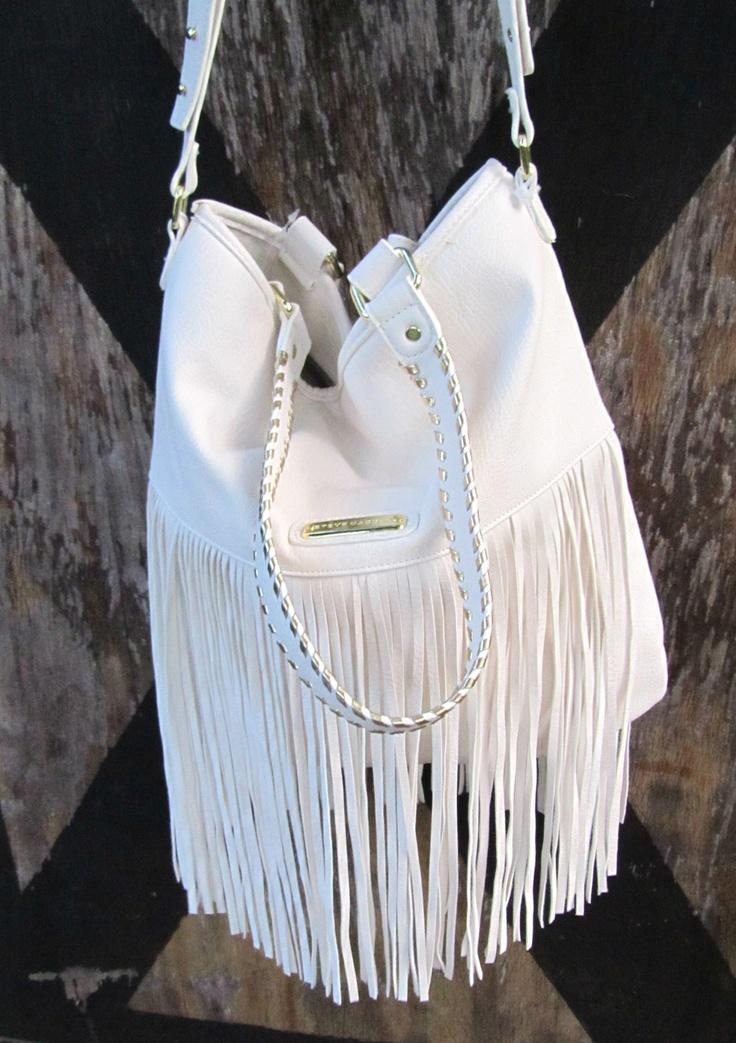 white fringe bagSTEVE MADDEN Cream Ivory Off White Hippie Fringe Bag Tote Purse Handb 2Kles7Cw