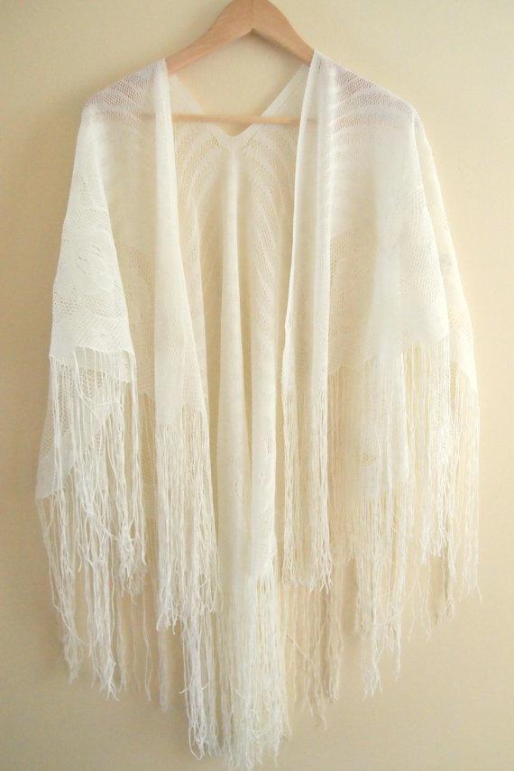 white fringe kimonoVintage Gypsy Fringe Kimono Shawl White by LuxVintageApparel NDreyQBM