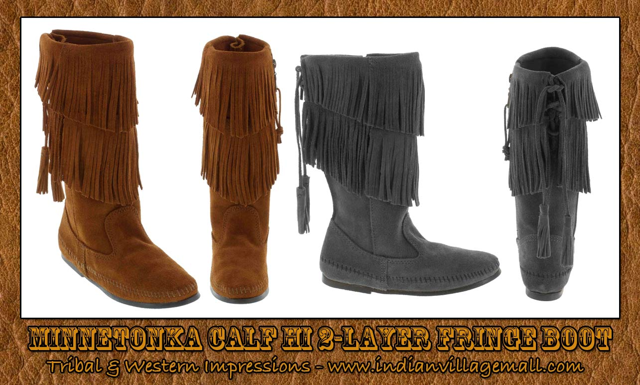 wholesale minnetonka fringe bootsCalf Hi Two Layer FringeMinnetonka Boot In Four Colors FbuLxWRL