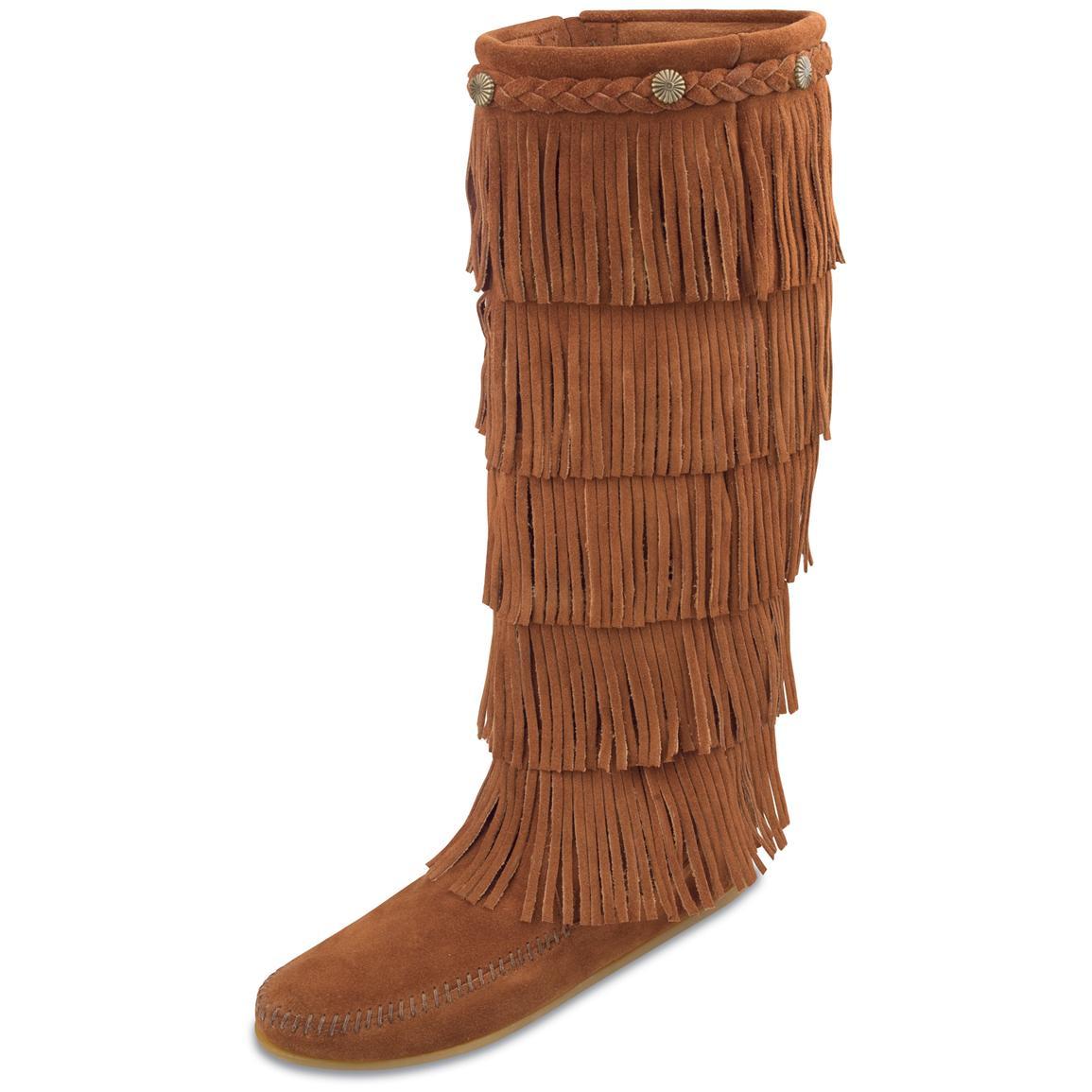 women fringe boots cheapWomens Minnetonka Moc   5   Layer Fringe Boots   164758 Casual vVhlUZXP