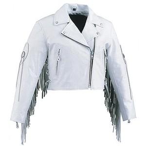 women fringe leather jacketWhite Fringed Leather Motorcycle Jackets For Women lIEuLoP4