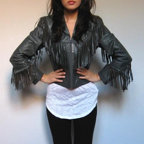 womens leather fringe jacketVintage FRINGE motorcycle LEATHER JACKET coat by MidnightFlight tPWMtvuX
